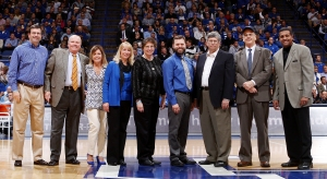 From left to right: Interim Provost Timothy Tracy; UK Alumni Association President George Ochs; Great Teacher Award Committee Chairperson Hannah Myers; Karen Badger, associate professor, College of Social Work; Roberta Dwyer, professor, College of Agriculture; Samuel Franklin, assistant professor, College of Medicine; John Grove, professor, College of Agriculture; Armando Prats, professor, College of Arts and Sciences; Gerald Smith, associate professor, College of Arts and Sciences.