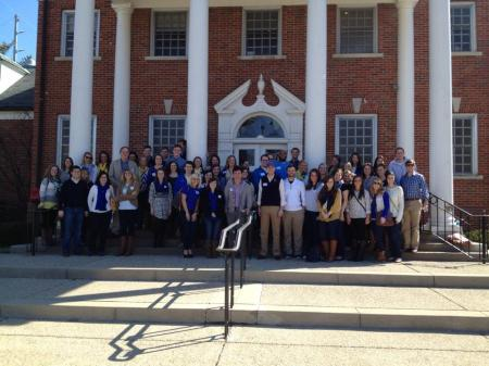 DanceBlue alumni are pictured here at the King Alumni House before the start of DanceBlue over the weekend.